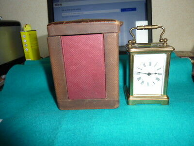 Small Brass French Carriage Clock With Travelling Case