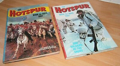 TWO Vintage 60s HOTSPUR Book For Boys 1967  HOTSPUR Annual 1969 - BOTH UNCLIPPED