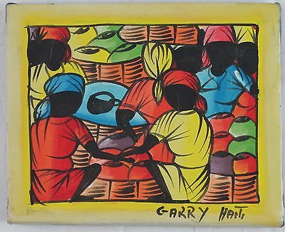 Vintage Haitian Painting of Women by artist Garry on Stretched Denim