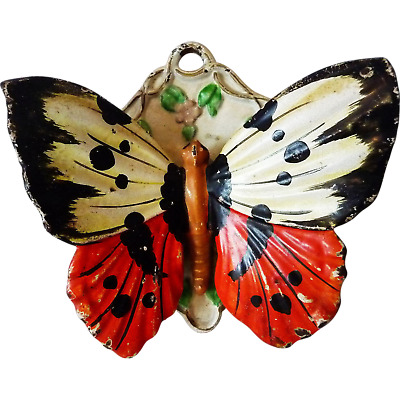 Rare Antique Painted Cast Iron Figural Butterfly Match Safe