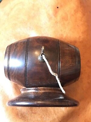 Antique Treen Wooden Barrel String Dispenser Box