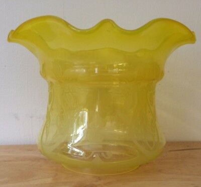 Vintage Yellow Etched Oil Lamp Shade