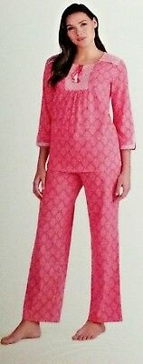 Pajamas PJ Set 3/4 Sleeve Long Pants Anne Klein Women's XLarge FREE SHIPPING NEW