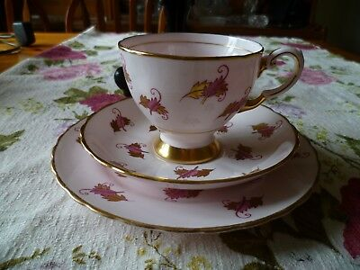 Lovely Vintage Tuscan English China Trio Tea Cup Saucer Pastel Pink Gilded Leaf