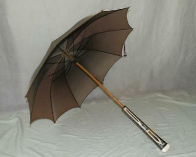 Antique/Vintage Patterned Handle And Top Umbrella With Beige Canopy