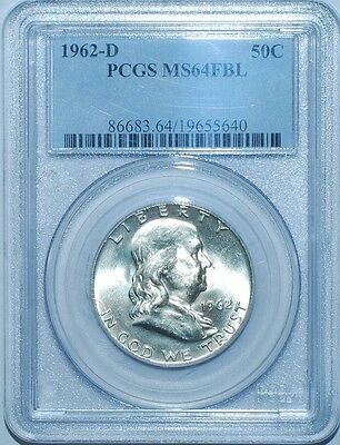 1962 D PCGS MS64FBL Full Bell Lines Franklin Half Dollar