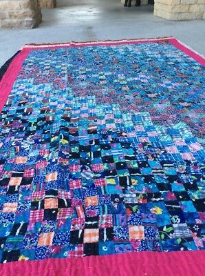 Hand Sewn Country Quilt Patchwork Multi Colors Rug 4X6 Handmade Reversible L4