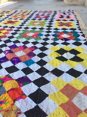 Hand Sewn Country Quilt Patchwork Multi Colors Rug 4X6 Handmade Reversible L3