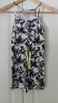 girls summer black and white tropical print short playsuit age 8-9
