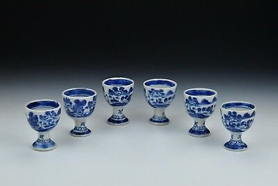 Set of 6 Antique Chinese Export Porcelain Canton Egg Cups 19th Century