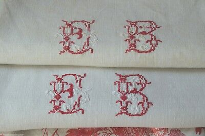 """Pair of 19th century pure linen red EB monogrammed torchons or towels 32"""" x 27"""""""
