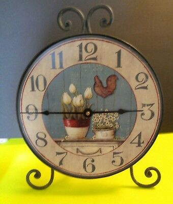 """Creative Co-Op 10"""" Rooster Clock With Easel Kitchen Decor Works New With Tag"""