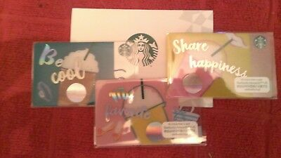 STARBUCKS Summer Trio of Gift Cards (3) w/1 Japan Sleeve PINs Exposed US Seller