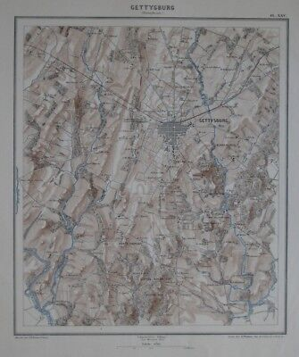 Original Antique Civil War Map GETTYSBURG Pennsylvania Devils Den Comte de Paris