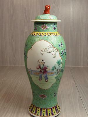Vintage Hand Painted Asian Chinese Lidded Vase Urn Rare