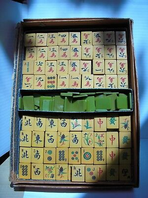 Catalin/bakelite Lot Of Vintage (Green/amber) Majong Tiles/pieces. 970 Grams,