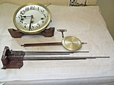 CLOCK  PARTS,MOVEMENt,CHIME, HANDS,PENDULUM ,KEY   l