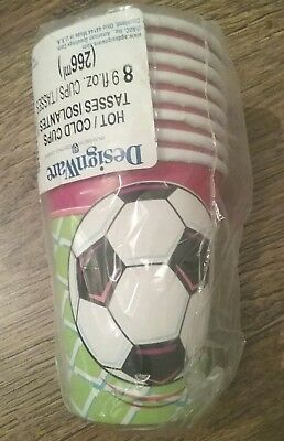 New Pk Of 8 Red & Green Football Birthday Party Paper Cups. Hot & Cold 9Fl.oz