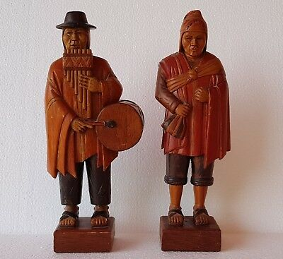 Vintage Latin American Peruvian Wood Couple Statue. Finely Detailed Art Work.