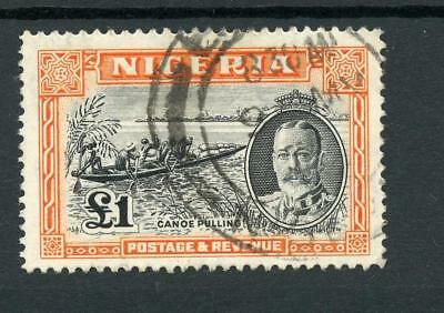 Nigeria 1936 £1 black and orange SG45 FU cat £200