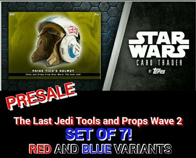 LAST JEDI TOOLS & PROPS WAVE2 RED+BLUE SET OF 7 Topps Star Wars Digital Card