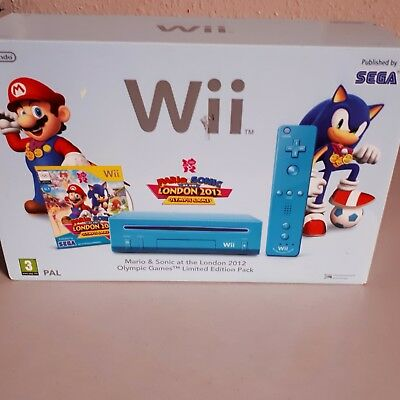 Blue   WII Console PLAYER + game ( 2012 Olympics ).L M T D.- Edition.