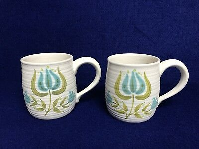 Pair Of Fraciscan Tulip Time Coffee Mugs
