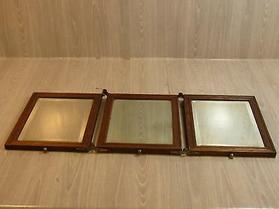Antique Beveled Three Mirror Tri Fold Vanity or Wall Hanging Wood Frame