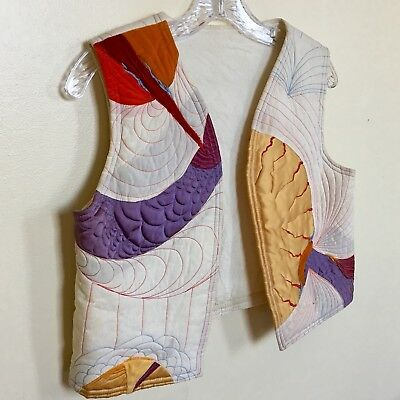 True Vintage 1960s 60s Abstract Patchwork Vest Artistic Stitching & Embroidery