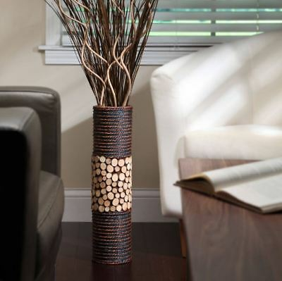 Modern Floor Vase Tall Wood Bamboo Rustic Decorative Spa Living Room Home Decor