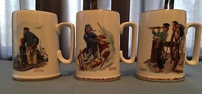 "Norman Rockwell 1985 ""seafarers Collection"" Tankards /  3 Mugs"
