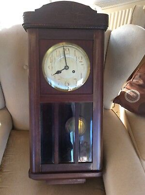Antique Wall Clock Wood Case Brass Pendulum Wind Up Collectible