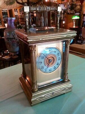 stunning antique carriage clock with enamel chapter ring, strikes the hours