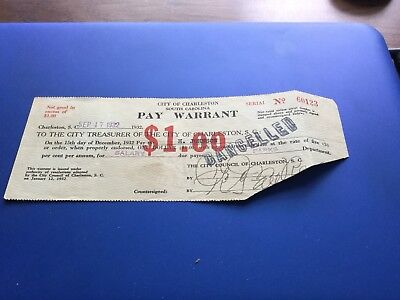 Pay Warrant City Of Charleston South Carolina Sep. 17, 1932 $1.00