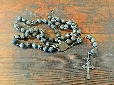 Early 20th Century Carved Black Celluloid Rosary