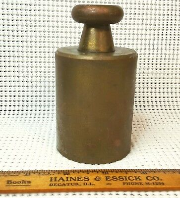 Vintage  Brass Weight For Antique Scale- 5 Lb - Pound / Good Door Stop - Paper