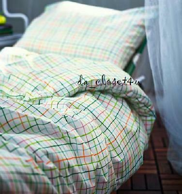 IKEA Twin Single Duvet Cover Quilt Cover set Cotton Blend Sommar 2015 Check New