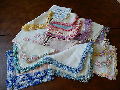Lot Of 18  Vintage Hand Crocheted  Edge Multicolored Handkerchiefs