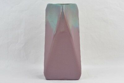 Muncie Pottery 1928 Rombic Falling Triangles Green over Lilac Vase #309-7