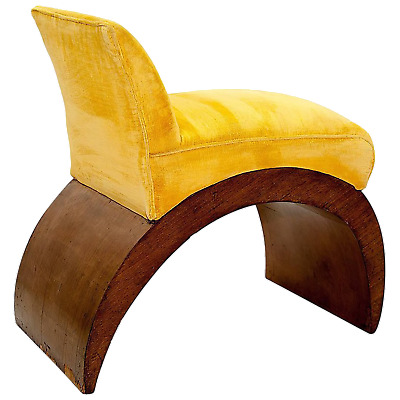 Vintage, Art Deco, Low chair, Chaise, beech, Noyer placage, Fabric, yellow