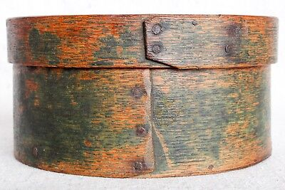 """Antique 19th Century Primitive Round Wood Shaker Pantry String Box Green 6"""""""