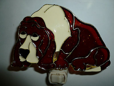 """Stained Glass Style  """"basset Hound  """"  Night Light"""
