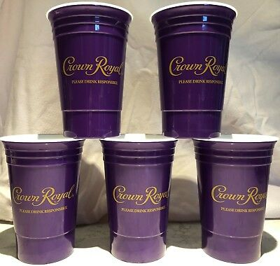 Crown Royal Reusable Heavyweight Plastic Insulated Cups 5 Pack