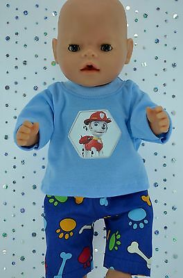 "Play n Wear Doll Clothes To Fit 17"" Baby Born  BONE/PAW PATTERN PANTS~T-SHIRT"