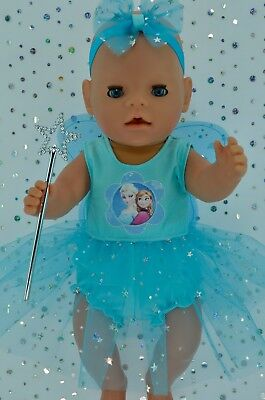 "Play n Wear Doll Clothes For 17"" Baby Born AQUA FAIRY~PANTS~HEADBAND~WAND"