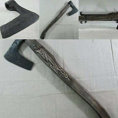 low outbid!!!!Extremely Rare Old Big Viking Iron Battle Axe with Certificate!!