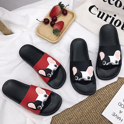 Womens Girls Beach Slippers Shoes Cute Dog Cartoon Slides Flat Flip Flops Size