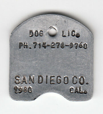 1980 San Diego County California Dog License Tag Without Number