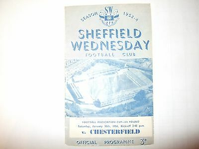 Sheffield Wednesday v Chesterfield - FA Cup 4th round - Sat 30th Jan 1954