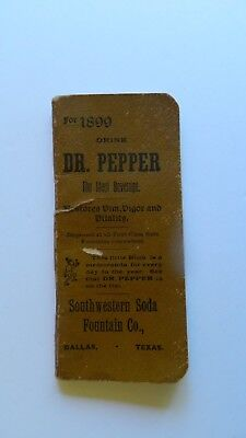 Antique 1899 Drink Dr. Pepper Little Book With Calendar Addresses Daily Entries